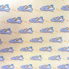 B-241956 New Salvatore Ferragamo Men's Yellow Speedboat Boat Water Patterned Tie