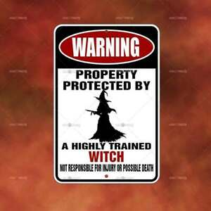 Property Protected Witch metal Sign Home room wall art gift funny decor A2310