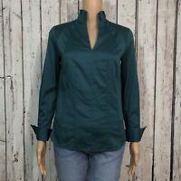 Antonio Melani Career Work Blouse Shirt Misses XS Dark Teal Green Pleated Zip Up