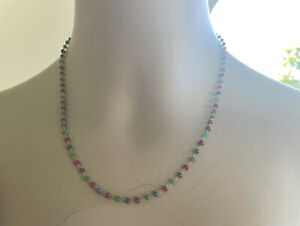 18K  Ruby  Emerald  and Sapphire  Necklace  17 inches   Handmade   EUC