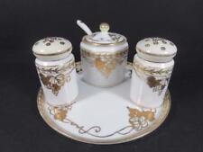 Antique Nippon Maruki Gilded Porcelain Condiment Set ca. 1912 (#92-25)
