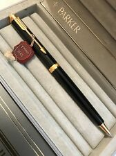 VINTAGE PARKER PREMIER BLACK LACQUER GOLD TRIM 0.5MM PENCIL-BOXED-NEW OLD STOCK