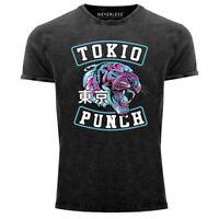 Neverless® Herren T-Shirt Vintage Shirt Printshirt Tokio Punch Schriftzug