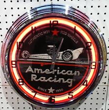 "17"" AMERICAN RACING Wheels Since 1956 Sign Neon Clock Hot Rod Mag"