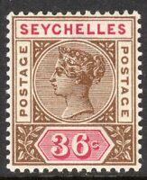 Seychelles 1897 brown/carmine 36c crown CA Die II mint SG32