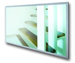 Far Infrared Heated Mirror Panel Glass Electric Radiator 600W 120cm x 60cm