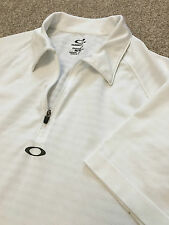 Indossata una volta Oakley Regular Fit 1/4 Zip Polo shirt bianca traspirante M Medium costo £ 75