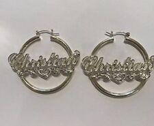 Christian Name Earring -A $150 Value Name Hoop Earrings .925 Sterling Silver In