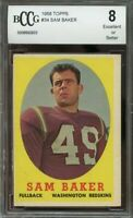 1958 topps #34 SAM BAKER washington redskins BGS BCCG 8