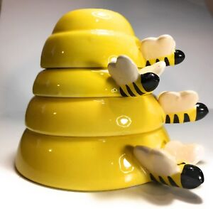 Beehive Measuring Cups Ceramic 4 Piece Yellow Baking & Cooking FREE SHIPPING