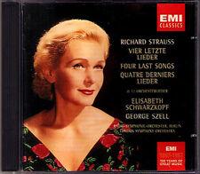 Elisabeth SCHWARZKOPF R. STRAUSS Four Last Songs SZELL EMI CD Vier letzte Lieder