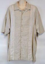 NWT Haggar Men's 3XLT Linen Button Down Shirt, Bamboo Beige (Big & Tall)