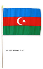 "12x18 Wholesale Lot 3 Azerbaijan Country Stick Flag 30"" wood staff"