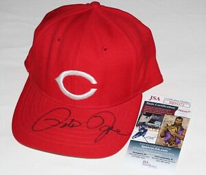 PETE ROSE Hand Signed CINCINNATI REDS Vintage ROMAN PRO fitted HAT with JSA COA