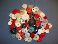 FANCY PATRIOTIC  BUTTONS red, white, blue, large lot vintage
