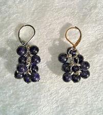 Blue goldstone starry night spherical beaded dangle earrings new handmade