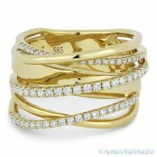 Loop Wrap Ring in 14k Yellow Gold 0.54 ct Round Cut Diamond Right-Hand Overlap