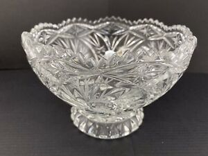 Vtg Pressed Glass Clear Pedestal Sawtooth Rim Footed Compote/Bowl