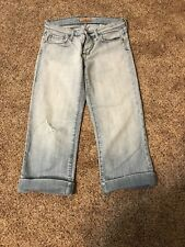 Womens Sz 28 SEE THRU SOUL Distressed Capri Crop Pants Blue Jeans Light Wash EUC