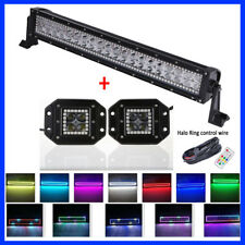"""22"""" Led Light Bar RGB Halo Chasing + 2x 3"""" 4D CREE Halo Pods Offroad Truck Jeep"""