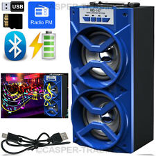 OUTDOOR WIRELESS BLUETOOTH TOWER SPEAKERS STEREO SUPER BASS w/ USB/TF/FM RADIO