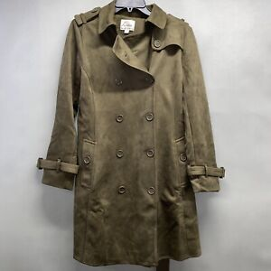 Linea by Louis Dell'Olio Womens Faux Suede Trench Loden Green Coat 10 A370421