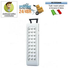 LAMPADA DI EMERGENZA RICARICABILE PORTATILE 30 LED BIANCHI TORCIA LUCE SOS