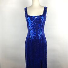 Vintage Niteline Della Roufogali Blue Sequin Full Length Fitted Dress Size Small