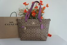 NWT Coach 79609 Gallery Tote handbag Coated Canvas W Leather Khaki Lilac Berry