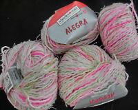 (5,50€/100 g): 200 g ALEGRA, Schoeller+Stahl, Fb. 850 weiß/pink/grün/rosa #2631