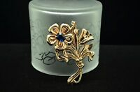 925 STERLING SILVER LARGE GOLD TONE FLOWER & LARGE BLUE CZ PIN BROOCH #18055