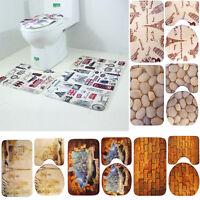 3PCS Bathroom Non-Slip Pedestal Rug+Lid Toilet Cover+Absorbent Bath Door Mat Set