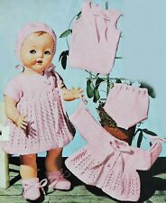 BABY DOLLS CLOTHES Dolly Knitting Pattern DRESS JACKET BONNET VEST PANTS BOOTEES