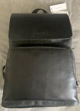 Calvin Klein Men's Large Logo Faux Leather Laptop Backpack Bookbag NWT $179