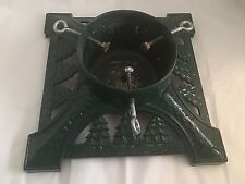 """Christmas Tree Stand Cast Iron Green 14"""" Square Heavy Duty Epoxy 16 lbs Vintage"""
