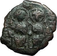 JUSTIN II & Sophia 565AD Half Follis Genuine Ancient Byzantine Coin CROSS i66285