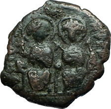 JUSTIN II & Sophia 565AD Half Follis Antioch Ancient Byzantine Coin CROSS i66285