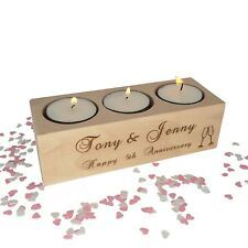 Personalised candle / tealight holder. Wooden 5th Wedding Anniversary gift.