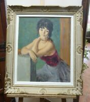 LARGE OIL FRENCH GIRL LISTED ARTIST MARC REBIERRE 1960,S FREE SHIPPING ENGLAND