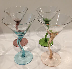 4 Multi-Pastel Colored Martini Glasses with Twisted Wavy Zig Zag Stems
