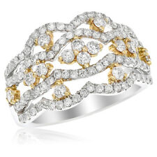 1.20C Right Hand Cocktail Fashion Ring 18K Yellow White Gold Two Tone