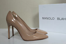 New sz 9.5 / 39.5 Manolo Blahnik BB Nude Beige Patent Leather Pointed Pump Shoes