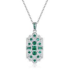 Fashion Silver princess cut green Cubic Zirconia CZ Art Deco Necklace Jewelry