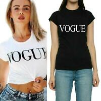 Ladies Womens Crew Neck Short Sleeve VOGUE Slogan T-Shirt Stretch Loose Fit Tops