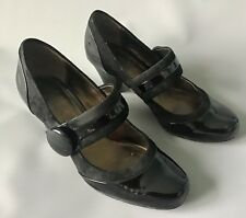 Clarks Women's Ladies Black Mary Jane High Heels Patent Leather Shoes Size 4