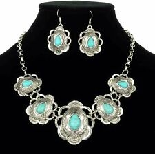 NEW Cowgirl Engraved Silver Tone Concho Turquoise Western Necklace Set