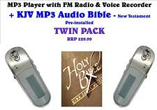 MP3 Player +FM Radio+Voice Recorder+KJV NT MP3 Audio Bible -TWIN PACK!! FREE P&P