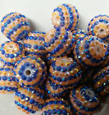 20pcs 20mm 2 stripe Orange and Blue Rhinestone beads Bubblegum Chunky Beads