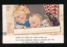 Somerset WELLINGTON  Comic Children Cat Dog Artist Kit Forres c1920 used PPC