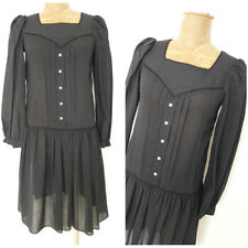 Vintage 80s Lolita Angelic Puff Sleeve Dress Size Small Fashion Goth Party